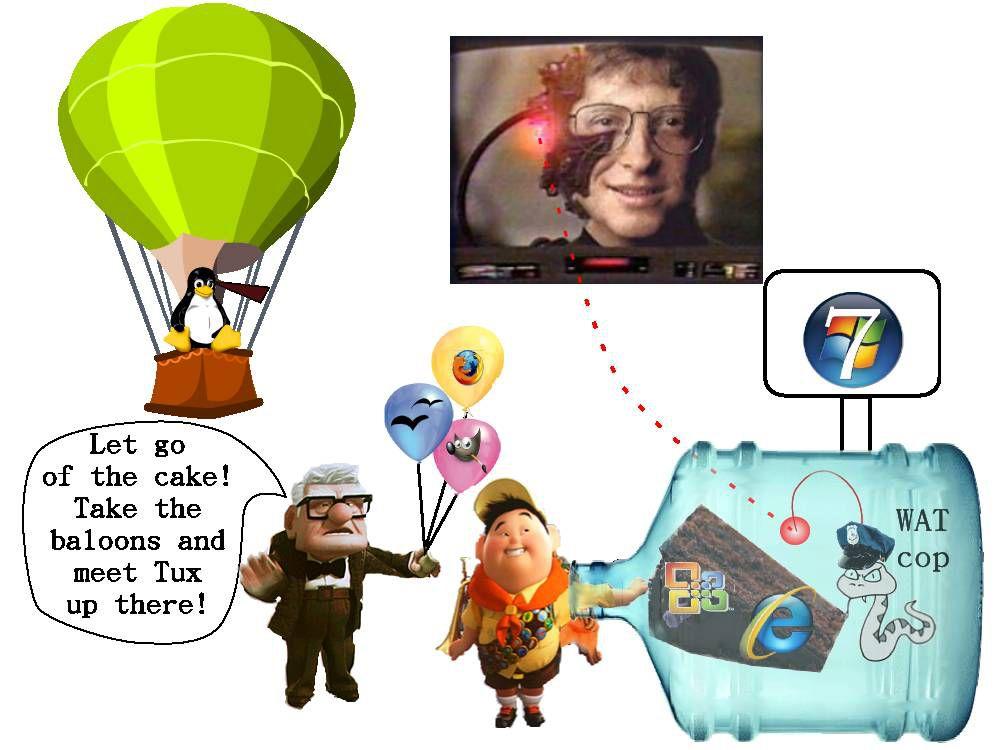 拿著自由軟體汽球, 飛到上面去與 Tux 會合吧!