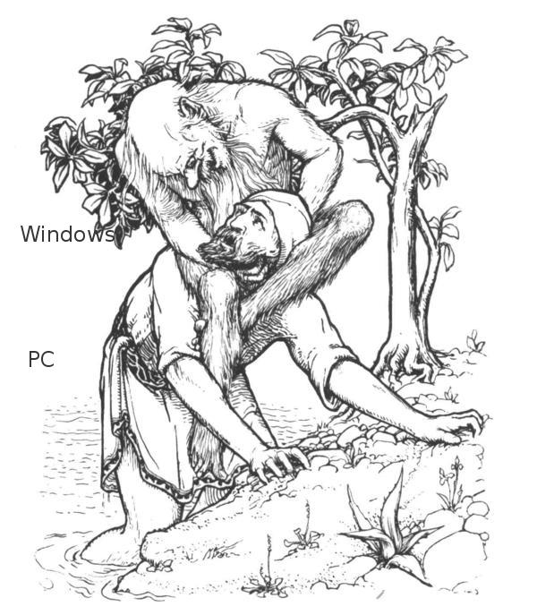 Windows 與 PC 之間的關係, 就像海上老人與辛巴達之間的關係一樣