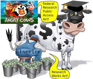 期刊出版商把學者當免費乳牛來壓榨; 學者抗議 (angry cows)