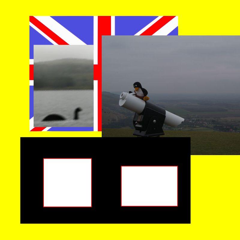 把幾個基本元素準備好: 底圖、 兩張圖片、 兩小白矩形、 大黑矩形