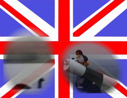 尼斯湖水怪跟望遠鏡上的 tux 套在英國國旗上