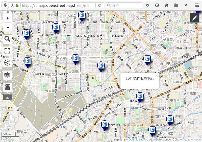 中華電信臺中直營門市地圖