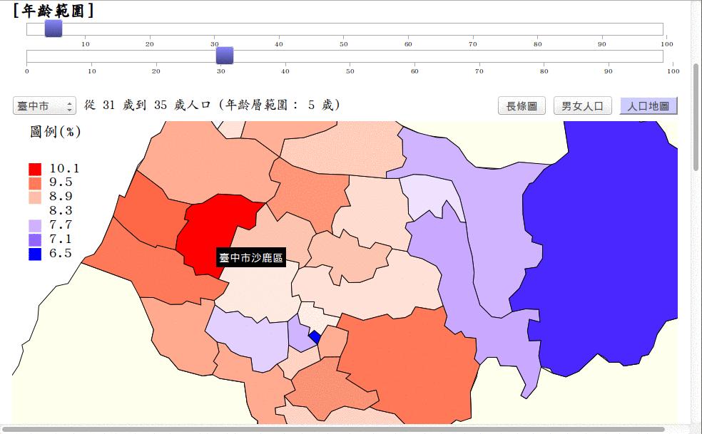 以 D3.js 製作的臺灣人口互動統計圖及統計地圖