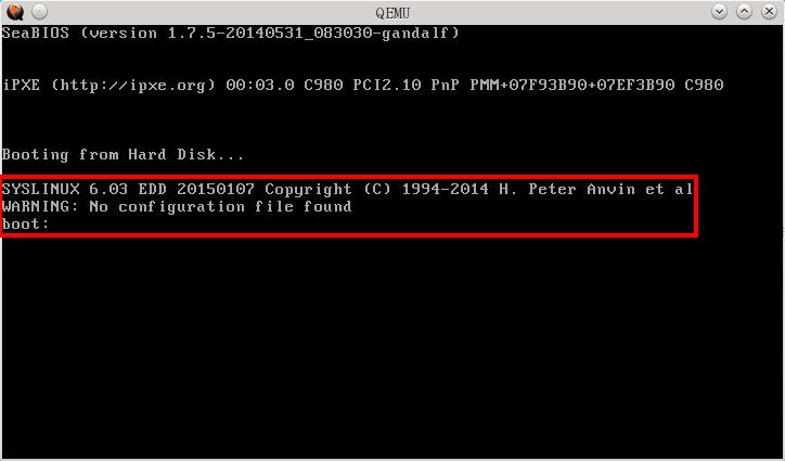 extlinux 已安裝成功! 但找不到設定檔