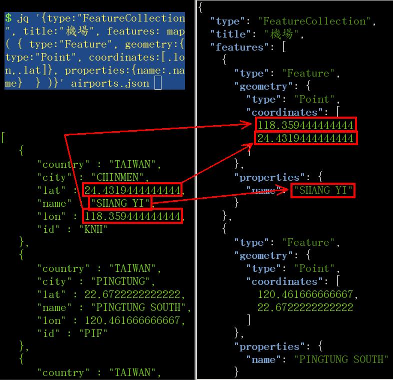 用 jq 把一個普通的 json 檔轉成 geojson 格式