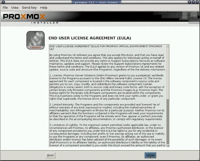 安裝 proxmox: 2. 同意授權聲明