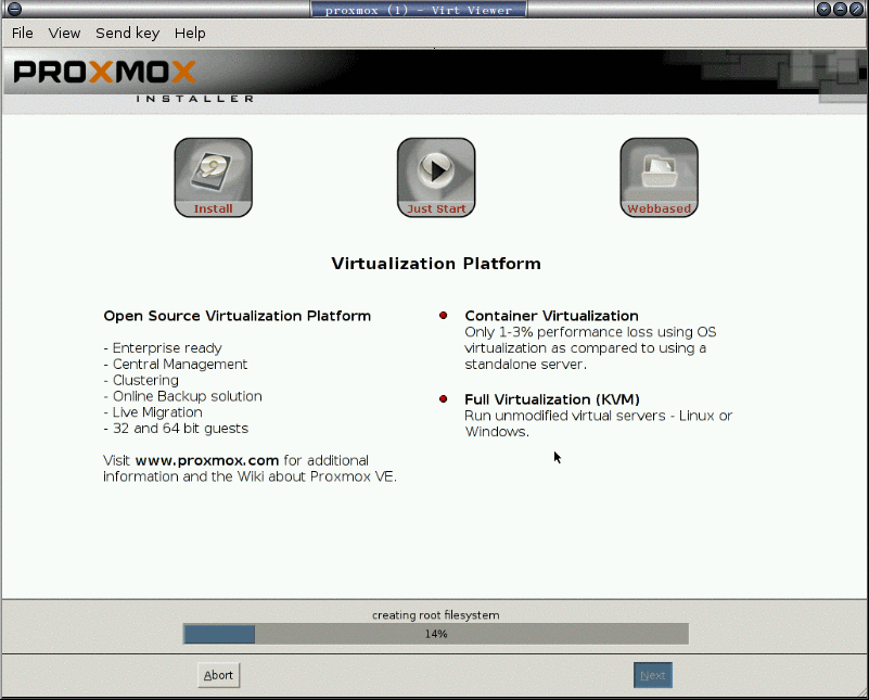 安裝 proxmox: 7. 正在安裝