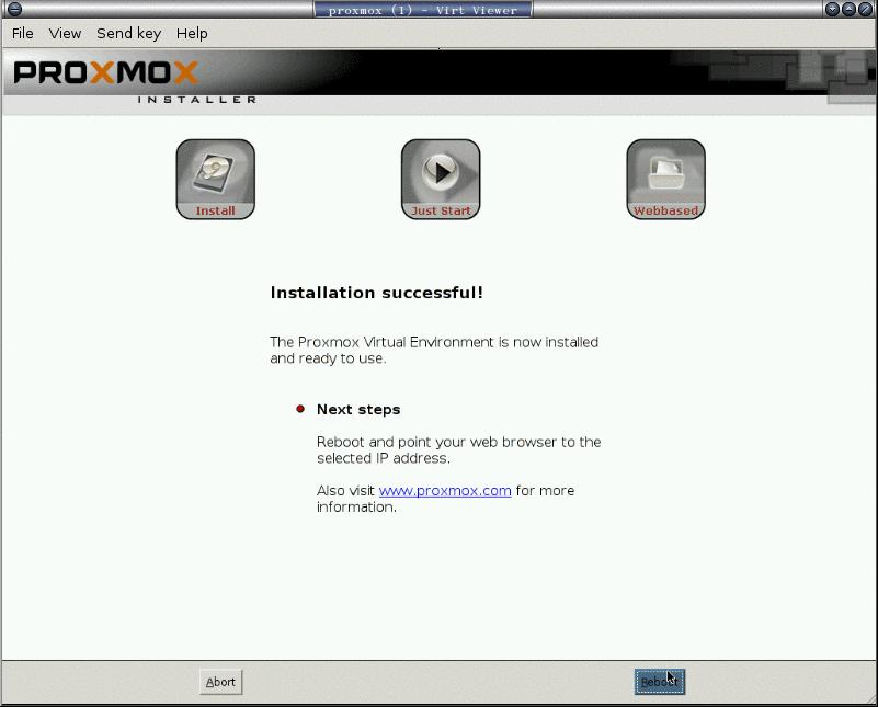 安裝 proxmox: 8. 安裝成功! 重開機。