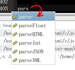 打 「pars」, geany 列出可能自動補完的字詞清單