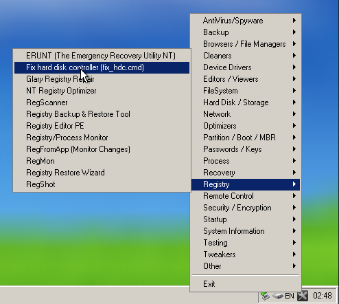 點選 Registry 裡面的 Fix hard disk controller