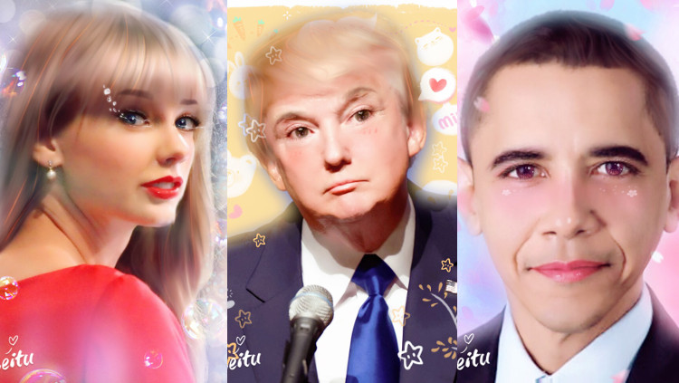 美圖秀秀修過的相片: 歐巴馬、川普、... 跟誰?