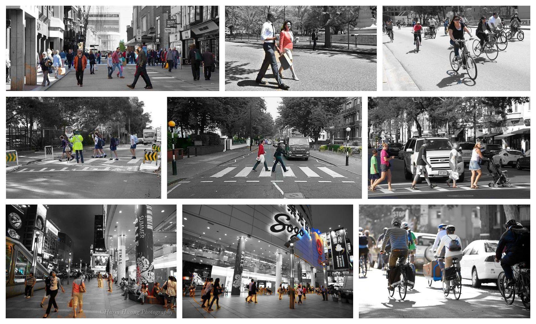 街道圖片語義分割結果 (只有「人」的部分著色)