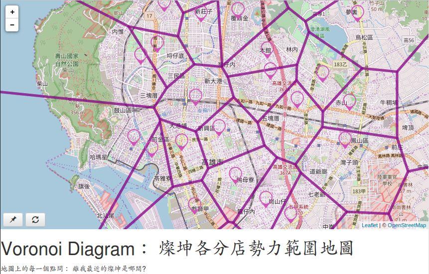 燦坤各分店勢力範圍地圖