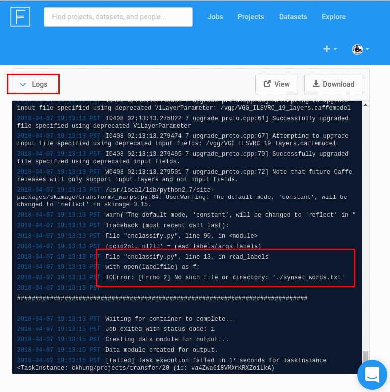 在 logs 這一節裡查看錯誤訊息