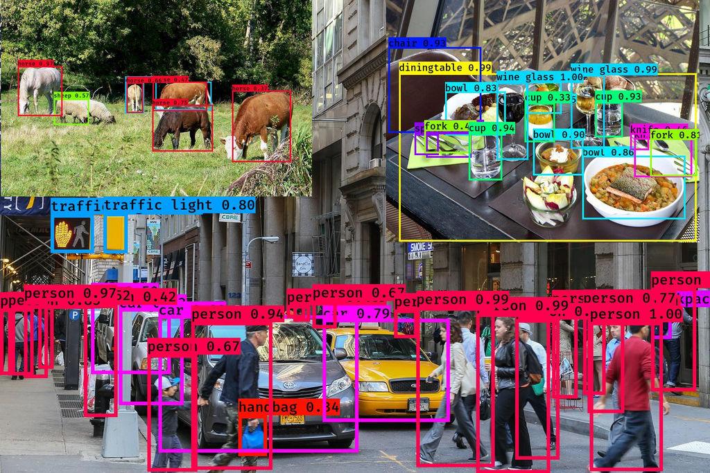 yolo3 測試結果: 街道圖/動物圖/餐桌圖