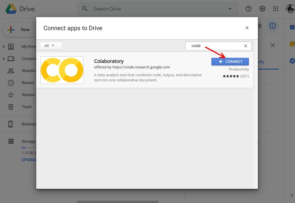 從 google drive 裡啟用 colab (2)