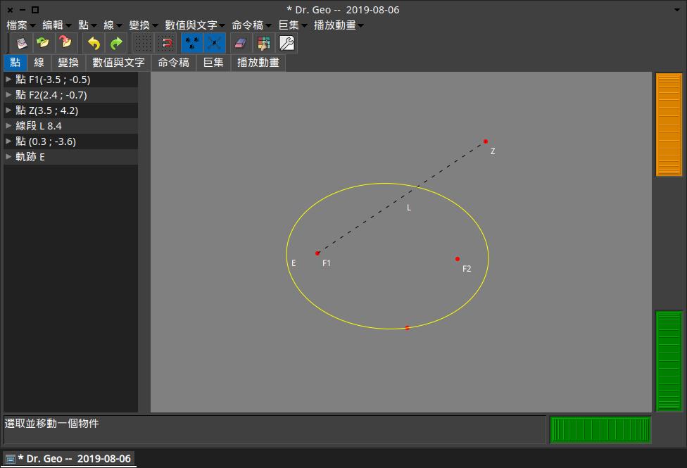 以 F1 與 F2 為焦點畫一橢圓