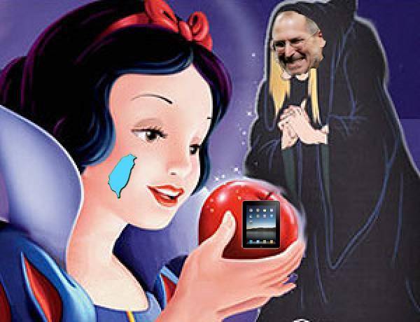 女巫送了一顆 iPad apple 給白雪公主。 「這顆蘋果叫做 『愛佩的!』 好吃哦。」