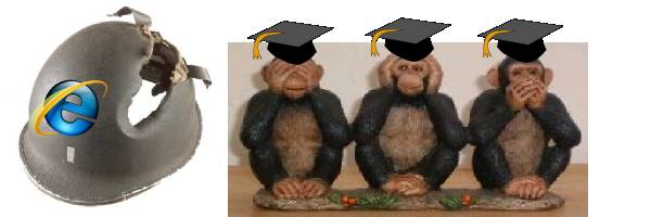 戴著學士帽的三隻猩猩 -- 非禮勿視/非禮勿聽/非禮勿言 -- 不敢承認安全帽有破洞